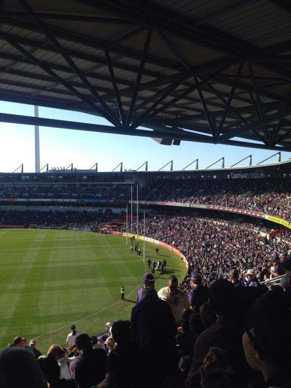 Freo fans during the quarter time break.