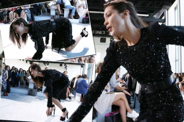 Bella Hadid trips at Michael Kors.